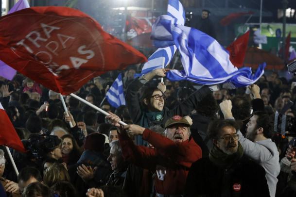 Greek leftists celebrate their victory